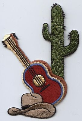 Iron On Embroidered Applique Patch Western Guitar Cowboy Hat and Cactus 151943