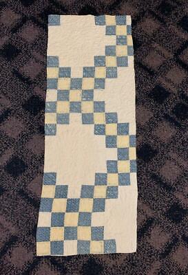 Antique Fabric Cadet Blue Yellow Irish Chain Farmhouse Cutter Quilt Pc Runner