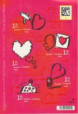 Finlandia 2008 ** Yvert Tellier nº 1858/62 San Valentin/Adhesivo (5s)