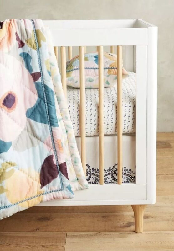 Anthropologie Eyelet Lace Embroidered Crib Skirt