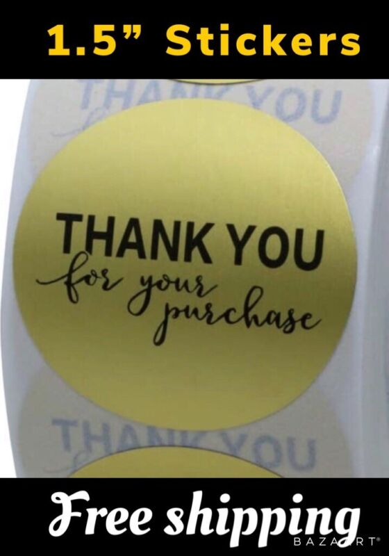 """100 Stickers 1.5"""" THANK YOU FOR YOUR PURCHASE Matte Gold Foil 1.5 Inch 38mm"""