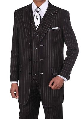 Men's Gangster Pin-Striped Three Button Suit w/ Vest 5903 Black Size 38R-56L - Gangster Vest