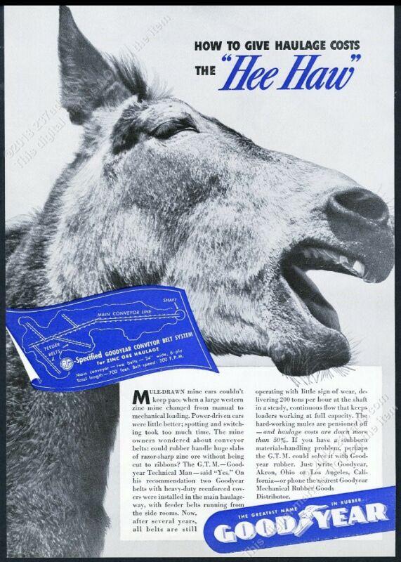 1941 cute mule photo Goodyear Rubber vintage print ad