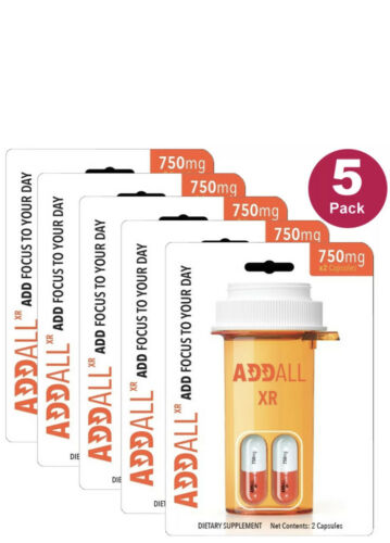 AddAll XR 750mg, Energy Focus Concentration, 5 Packs - 10 Capsules - FREE SHIP