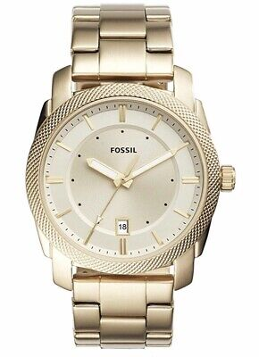 fossil watch men Machine Gold Quartz New 42mm 50 Meters Water Resistant FS5264