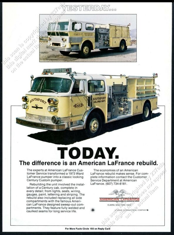 1981 American-LaFrance fire engine truck Southport VFD photo vintage trade ad