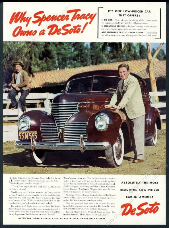 1939 Spencer Tracy photo DeSoto De Soto car vintage print ad