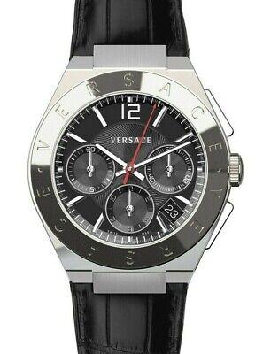 $1695 Versace Mens Landmark Chronograph Black Leather Watch Swiss Made VEWO00118