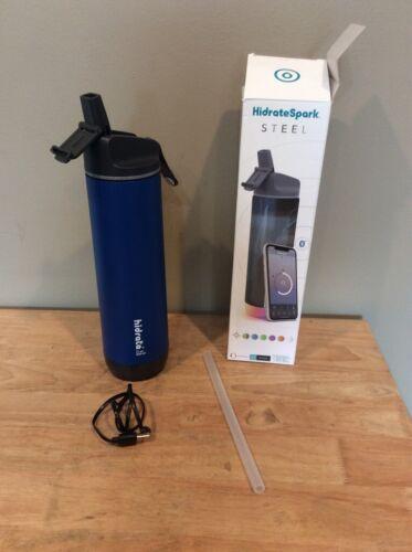 HidrateSpark STEEL Smart Water Bottle - Tracks Water Intake, Glows & Reminds