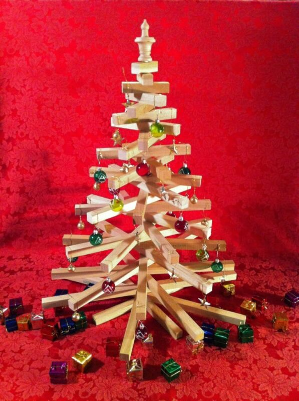 "Wooden Christmas Tree 27"" Tall Table Top Model Handcrafted"