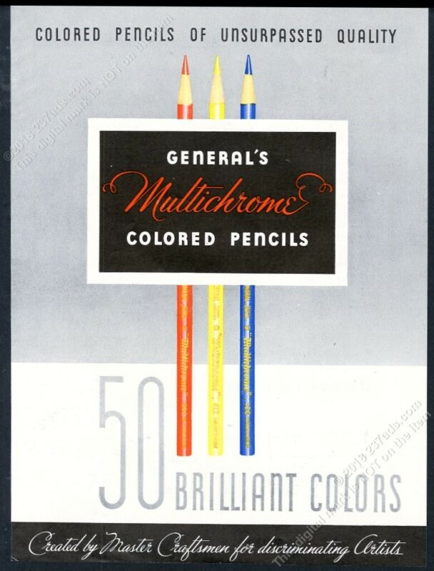 1947 General Multichrome colored pencil art vintage print ad