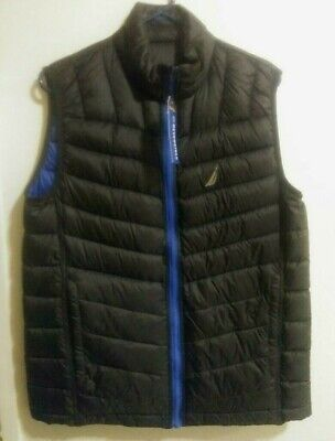 Mens Nautica Reversible Down Puffer Vest Blue And Black Small