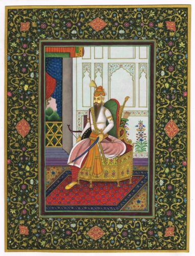 Maharaja Ranjit Singh - Breathtaking & Famous Antique Painting Fine Real Gold