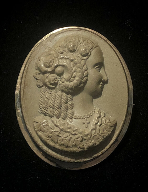 8kt Gold Victorian High Relief Lava Cameo Beautiful Brooch Pin Sku116158L
