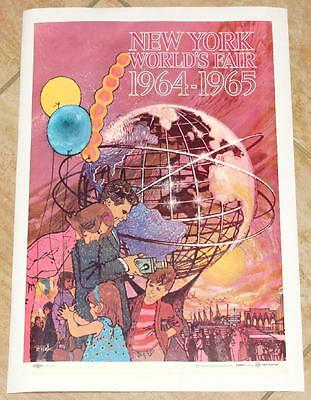ORIG 1964 NYWF NY WORLD'S FAIR BOB PEAK UNISPHERE DAY POSTER LINEN BACKED - (Summit Fair)