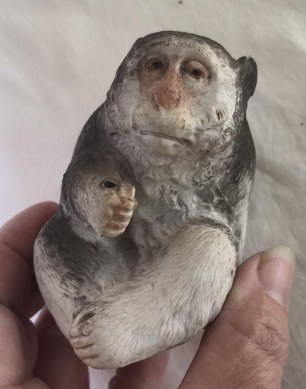 Antique Meiji Rare Japanese Porcelain Snow Monkey Figurine Anatomically Correct