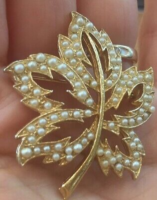 Vintage Gold Tone Leaf Outline Pin Brooch With Small Faux Pearls, Fall - Gold Leaf Pin