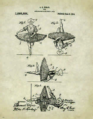 Ballet Dance Toy Patent Poster Art Print Shoes Flats Tutu Leotard Skirt Pat50