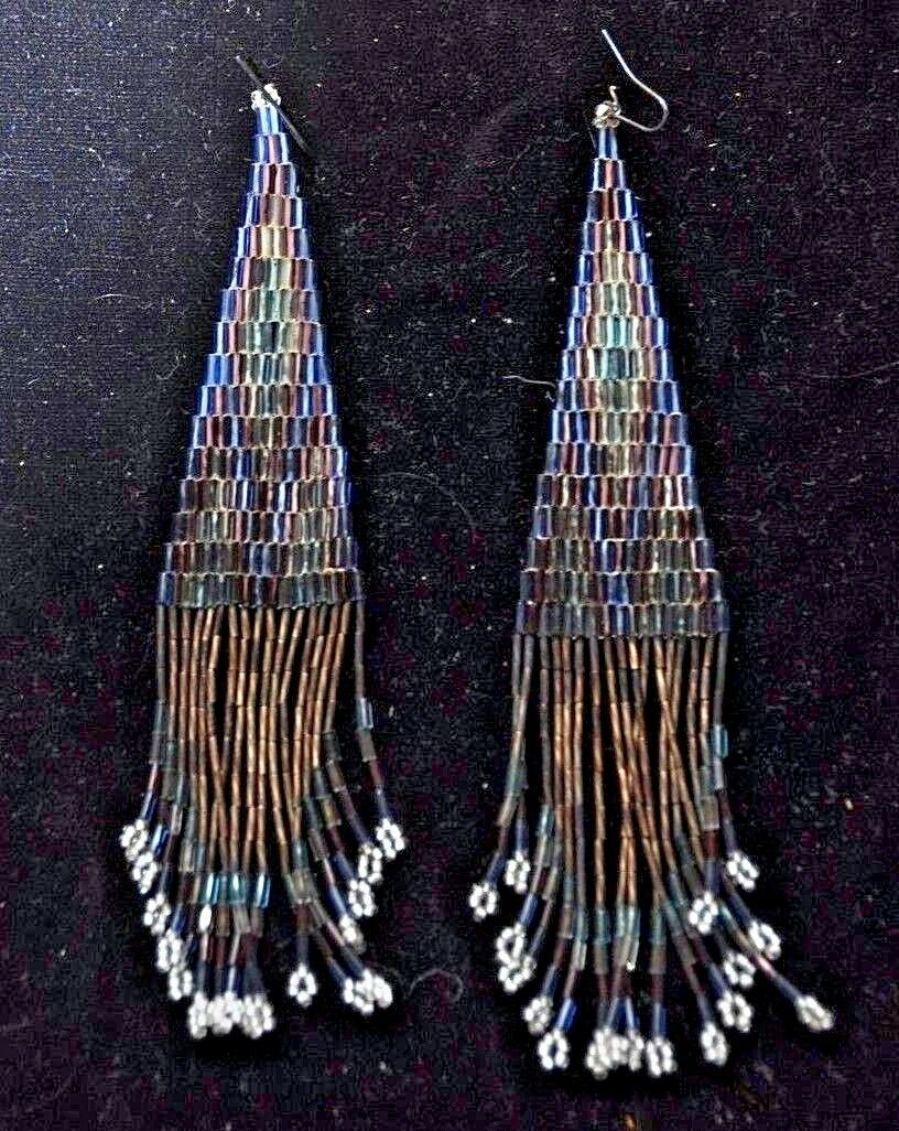 Real Native American Beadwork Navajo Beaded Earrings -5-1/2 ""