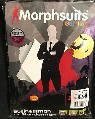 Morphsuits Slenderman Businessman - see/drink through, party in L 5'4