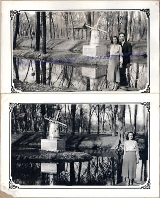 1936 Couple Marshalltown Iowa Riverview Park Dutch Windmill Lagoon Pond Photos