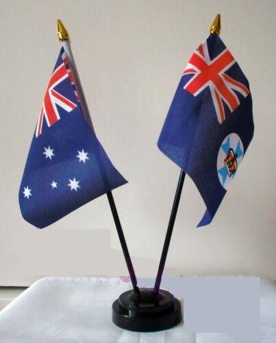 AUSTRALIA & QUEENSLAND TABLE FLAG SET Australian Brisbane Gold coast Cairns