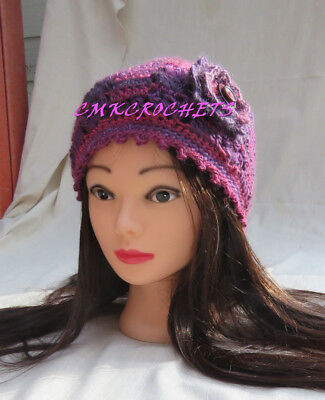(Crochet Hat Chic winter appeal Fashionflower Mom Sister FREE SHIP A5)