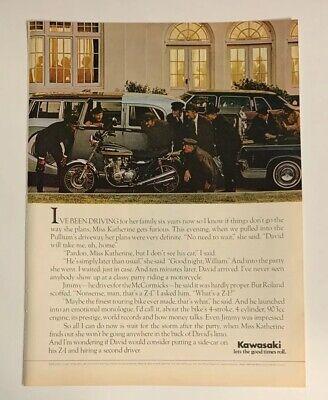 1975 Kawasaki Z-1 903cc Motorcycle Print Ad Advertising Vintage Original