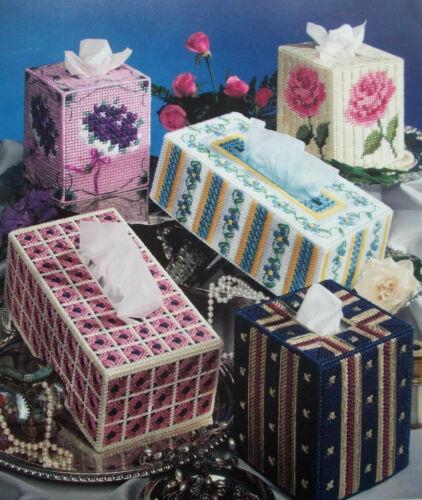 Tissue Box Elegance plastic canvas pattern pansy roses violets