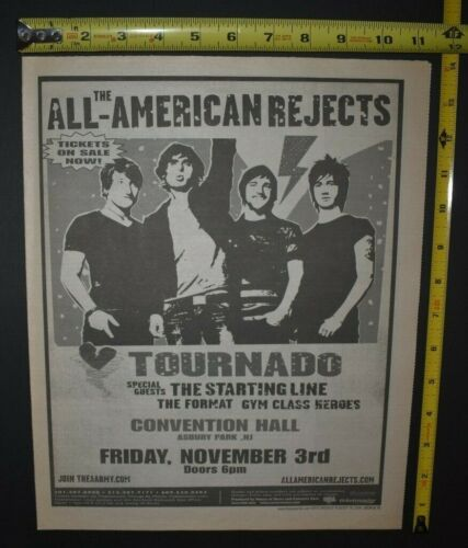 The All American Rejects 2006 Tournado Concert Ad Convention Hall NJ