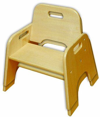ECR4Kids ELR-18006 8in Stackable Wooden Toddler Chair-RTA Set of 2- Natural NEW