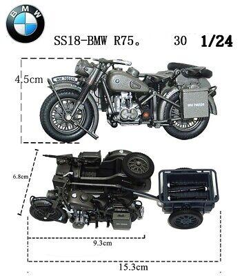 SS18-R75.Panzerfaust 30 World war ii German BMW motorcycles model Diecast Atlas