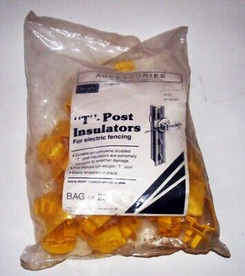 Nos Sears 48116 T-post Insulators For Electric Fencing Sealed Bag Of 25 Usa Made