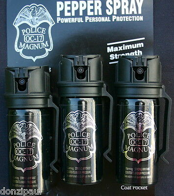 3 pack Police Magnum OC-17 mace pepper spray 2 ounce Flip Top Belt Clip Security