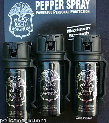 3 pack Police Magnum mace pepper spray 2oz flip top belt clip defense protection