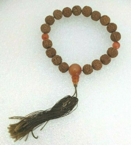 """EC. Antique Chinese Carved Hediao Nut Pit Seed & Stone Prayer Beads Bracelet 11"""""""