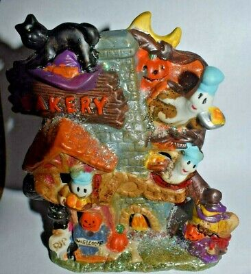 """Estate Halloween Decor Bakery with Ca, Ghosts, Pumpkins, Witch 5"""" Tall Ceramic"""