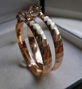 SOLID REAL 9CT GOLD FILLED LARGE HOOP EARRINGS OVER 200 SOLD! GOING FAST { 08S}