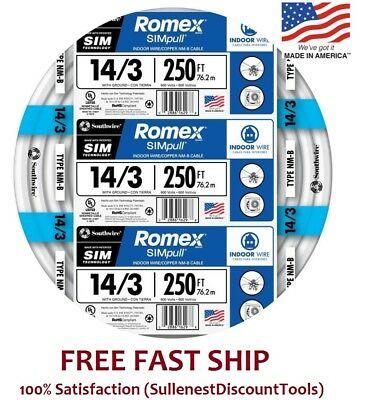 Romex 250 Roll 14-3 Awg Guage Nm-b Indoor Electrical Copper Wire Cable W Ground
