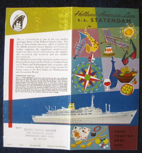 S.S. STATENDAM Folder, 1963 -- Holland America Line