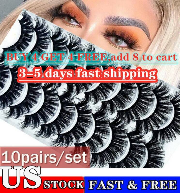 8/10/20 Pairs 3D Natural Bushy Cross False Eyelashes Mink Ha