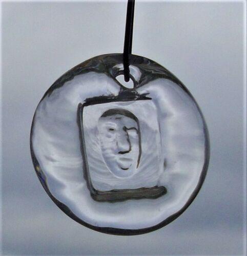 SMALL GLASS PENDANT w FACE - KOSTA BODA - ERIK HOGLUND 60s