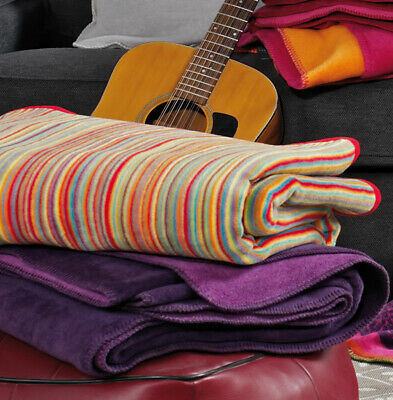 Multi Striped Ibena MALANG Luxury Soft Jacquard Warm Throw Blanket 150cm x 200cm