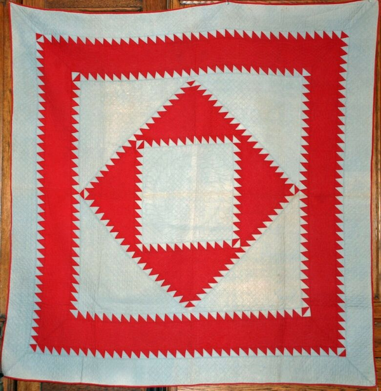 AMISH ANTIQUE QUILT ~ SAWTOOTH DIAMOND in the SQUARE ~ RED GRAY ~ LANCASTER PA