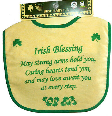 Irish Baby Blessing (Babies Feeding Bib Irish Blessing Shamrocks Velcro Fastener 100% Cotton )