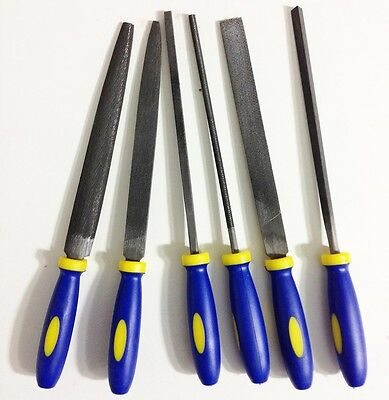 "6pc 6"" Coarse Cut Needle File Set Plastic Handle"