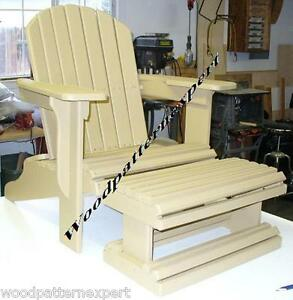 Adirondack Chair W Foot Rest Paper Patterns Build It Like Expert Easy Diy Plans Ebay