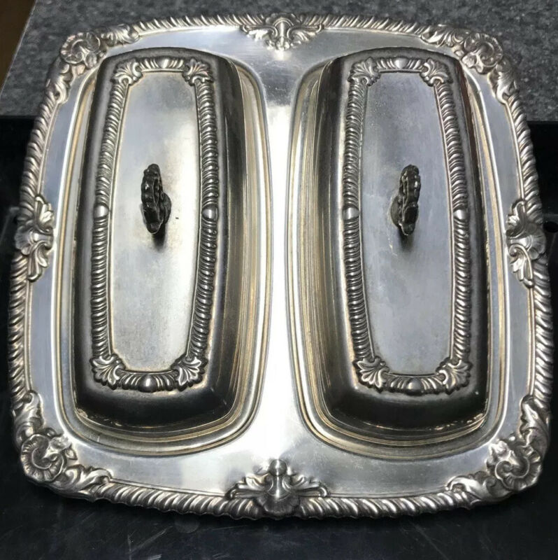 Vintage CROSBY silver plated double Butter  dish with Glass inserts Awesome!
