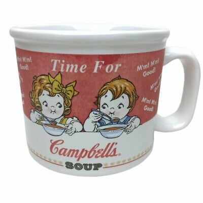 Campbells Soup Label Mug Cup Boy Girl Stoneware 12 oz Campbells Soup Label