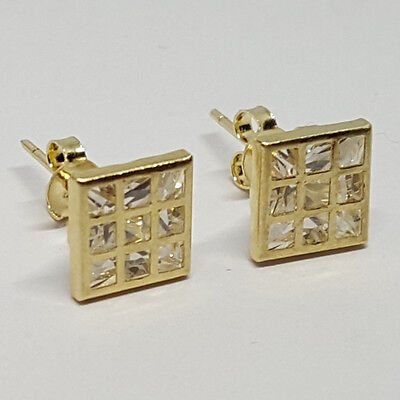 Solid yellow gold 14K invisible setting square white Topaz stud earrings 8x8mm